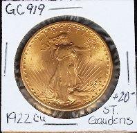 1922 CU $20 St. Gauden's Gold Coin. GC919