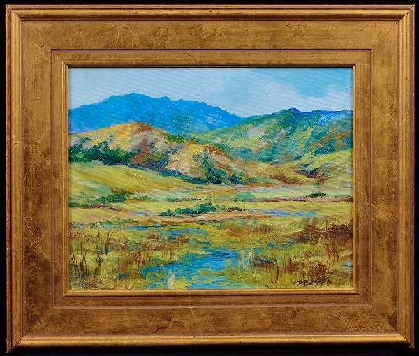 "Original Oil Painting ""Marsh Pond"" by D. Bottorff ED290"