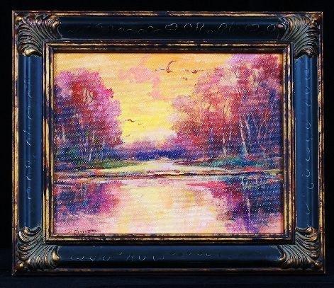 "Original Oil Painting ""Sunset"" by D. Bottorff ED287"