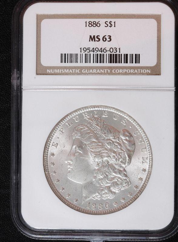 1886 Morgan Silver Dollar MS63 SCE347