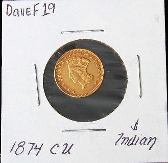1874 CU $1 Indian Gold Coin. DaveF19
