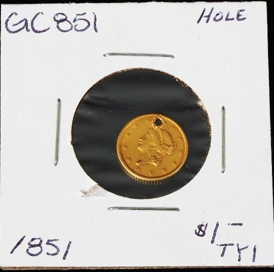 1851 $1 Liberty Head Gold Coin Type 1 GC851