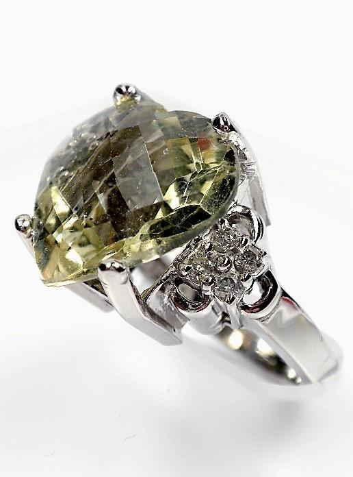 14KT White Gold Ladies Green Quartz & Diamond Ring 9.39