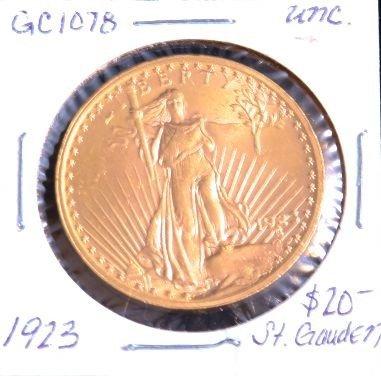 1923 $20 St. Gauden Gold Coin. UNC. GC1078