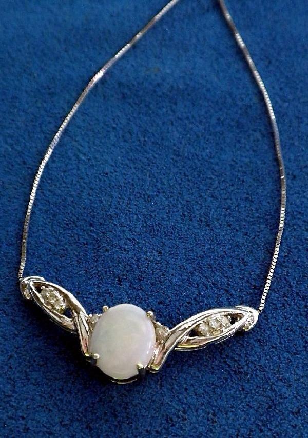 14KT White Gold Opal & Diamond Necklace. A1499