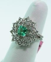 14KT White Gold Emerald & Diamond Ring. FJ1078