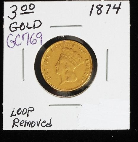 1874 Indian Princess Head $3.00 RARE GC769 Gold Coin