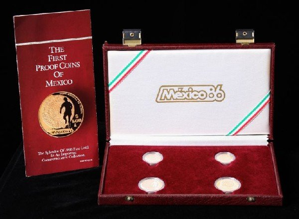 Mexico 1985-1986 Four Gold Coins World Cup Proof Set. C