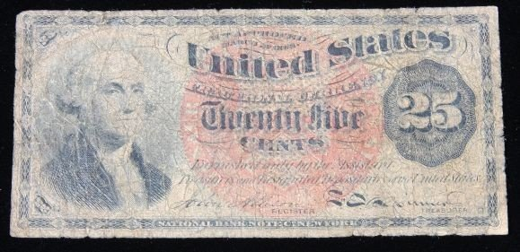 1863 25 Cents Fractional Currency U.S. Note. PM1697
