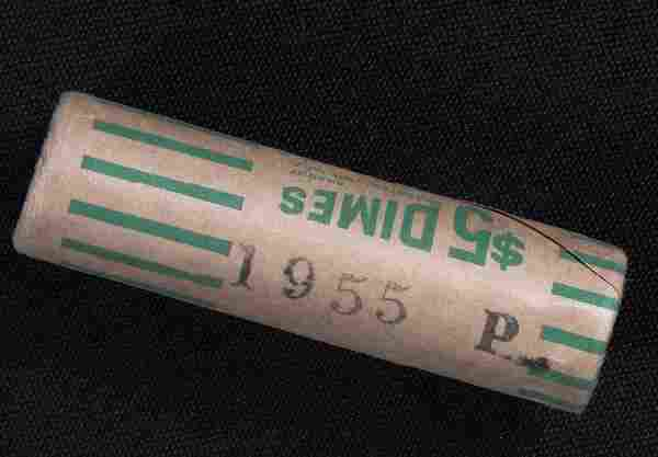 Unopened Original Wrapper Bank $5 Roll of 1955 Silver D