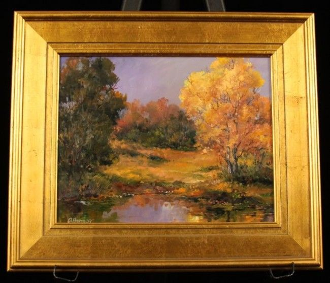 """Original Oil Painting """"Fall Yellow"""" by D. Bottorff ED54"""