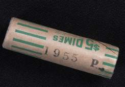 Unopened Original Wrapper Bank 5 Roll of 1955 Silver D