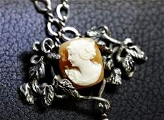 Antique Sterling Shell Cameo Lavalier Necklace ED614