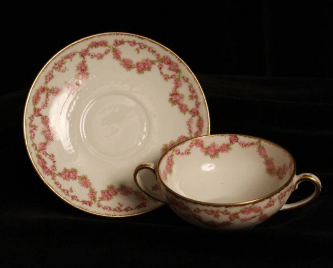 Antique Limoges Double Handled Tea Cup ED779