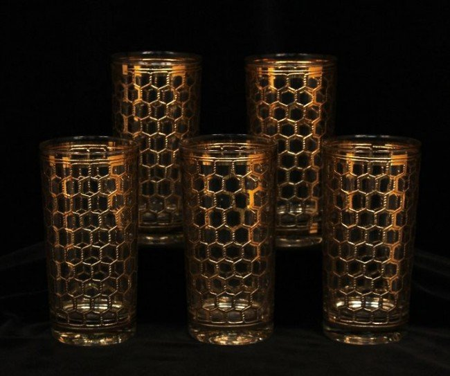Set of 5 Georges Briard Gold Trim Glasses NS87