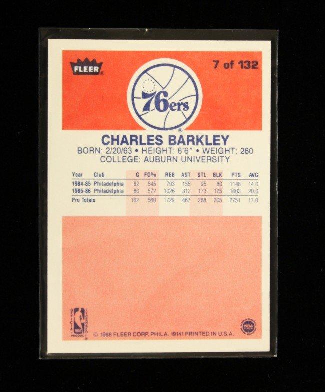 1986 Fleer Premier Charles Barkley Rookie Card C215 - 2