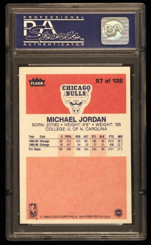 1986 FLEER Michael Jordan Rookie Card #57 PSA6 C326 - 2