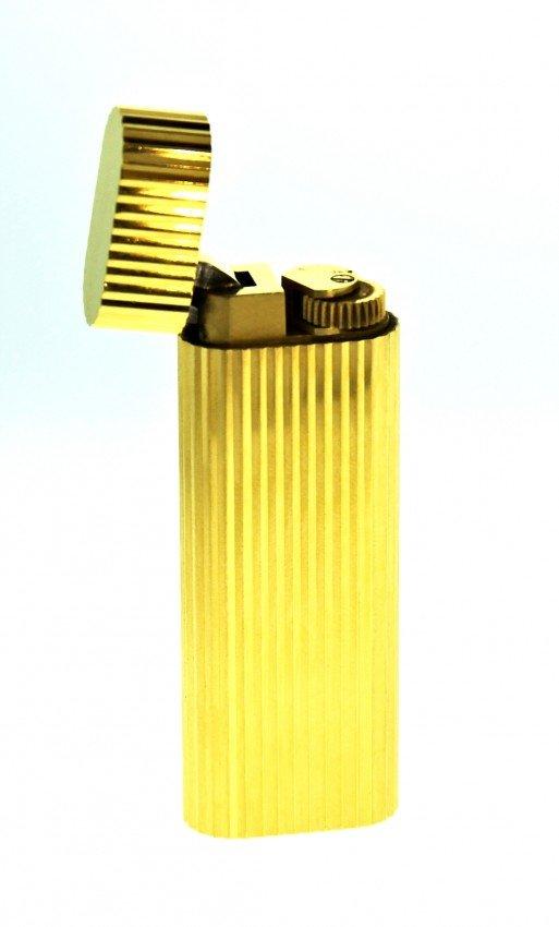 Vintage Gold Plated Cartier Lighter w/Original Box ED10
