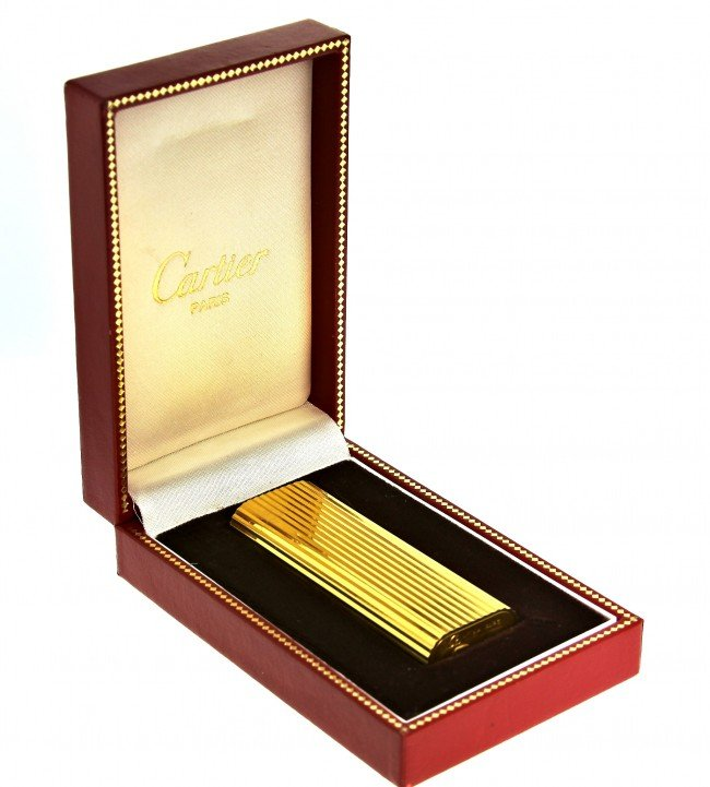 Vintage Gold Plated Cartier Lighter w/Original Box ED10 - 4