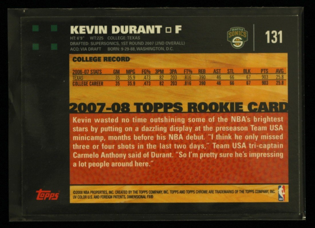 2007 Topps Chrome Kevin Durant Rookie Card C236 - 2