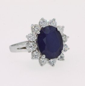 14KT White Gold Sapphire And Diamond Ring A2528