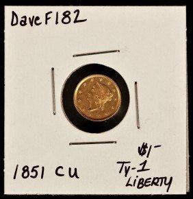 1851 CU $1 Ty-1 Liberty Head Gold Coin DaveF182
