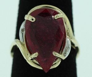 14KT Yellow Gold Ruby & Diamond Ring A2606