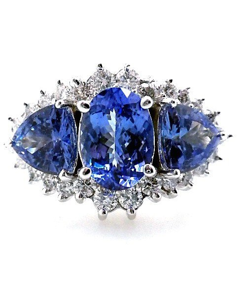 14KT White Gold Tanzanite and Diamond Ring A2438