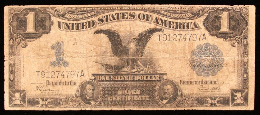 RARE 1899 $1 Black EAGLE Silver Cert. Speelman/White PM