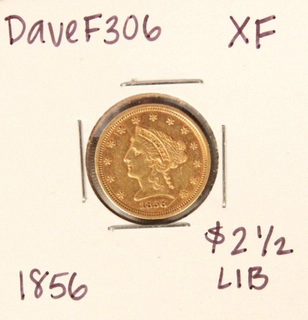 1856 $2-1/2 XF Liberty Head Quarter Eagle Gold Coin Dav