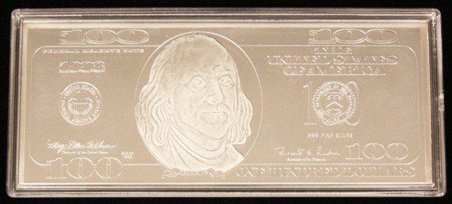 1998 Franklin 100 Silver Proof Bar 4 Troy Oz 999 Silv