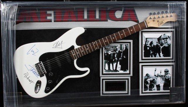 Metallica Autographed Guitar Collage