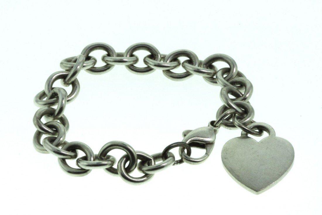 Tiffany & Co Sterling Heart Tag Silver Charm Bracelet E