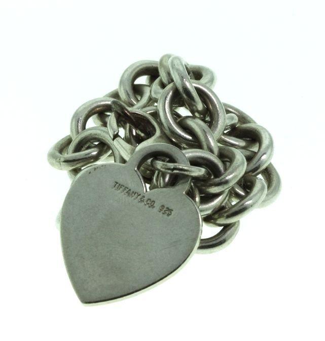 Tiffany & Co Sterling Heart Tag Silver Charm Bracelet E - 2