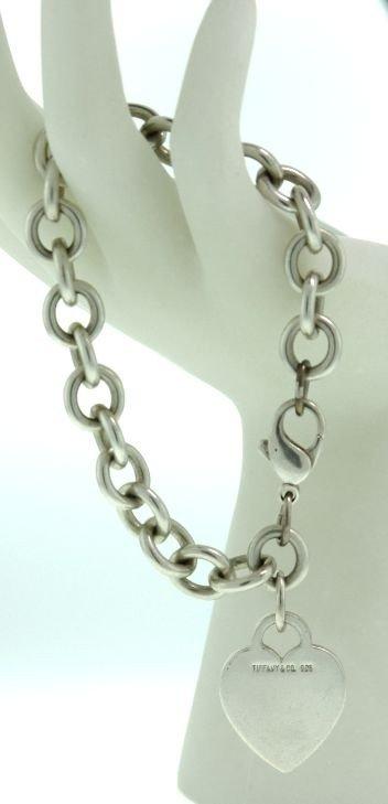 Tiffany & Co Sterling Heart Tag Silver Charm Bracelet E - 3