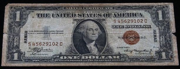 1935 $1 Silver Certificate Dollar note issued in Hawaii
