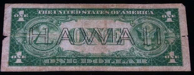 1935 $1 Silver Certificate Dollar note issued in Hawaii - 2