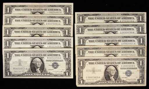 Lot of (10) 1957-A $1 Silver Certificates PMP37