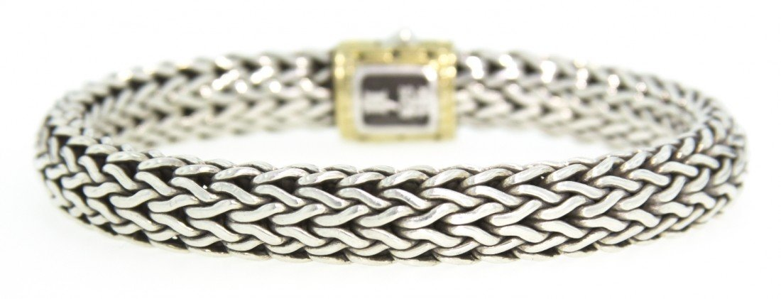 John Hardy Mens Sterling Silver and 18KT Yellow Gold Br