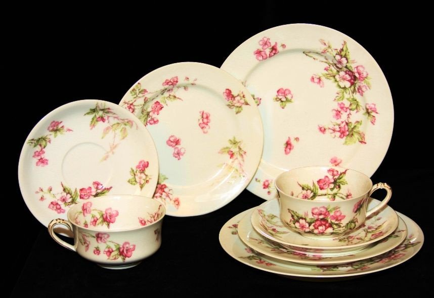 Antique Limoges 8pc breakfast Tea Set for Two ED498