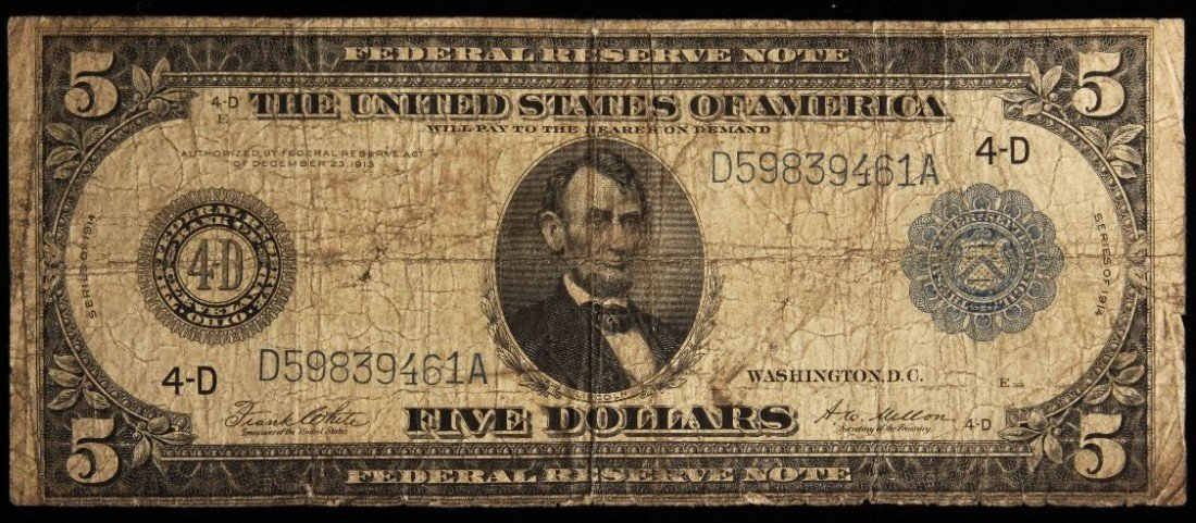 1914 $5 Large Size Blue Seal FRN Cleveland Note PM1808