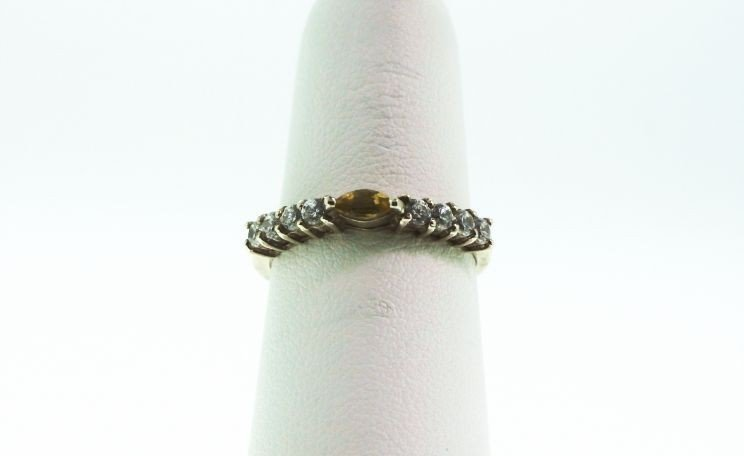 Sterling Silver Citrine and Diamond Ring GD136