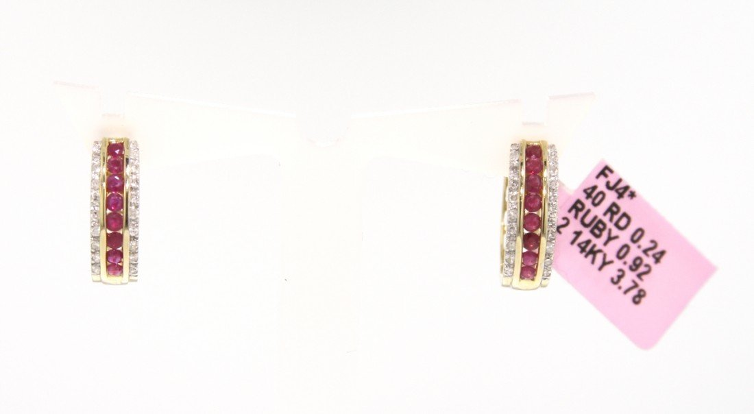 14KT Yellow Gold .92ct Ruby and Diamond Huggie Earrings