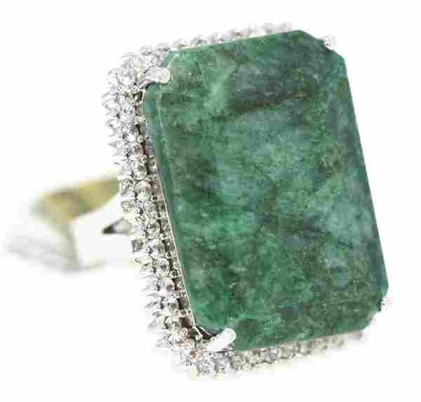 SILVER 58.18ct Emerald and White Sapphire Ring RM287