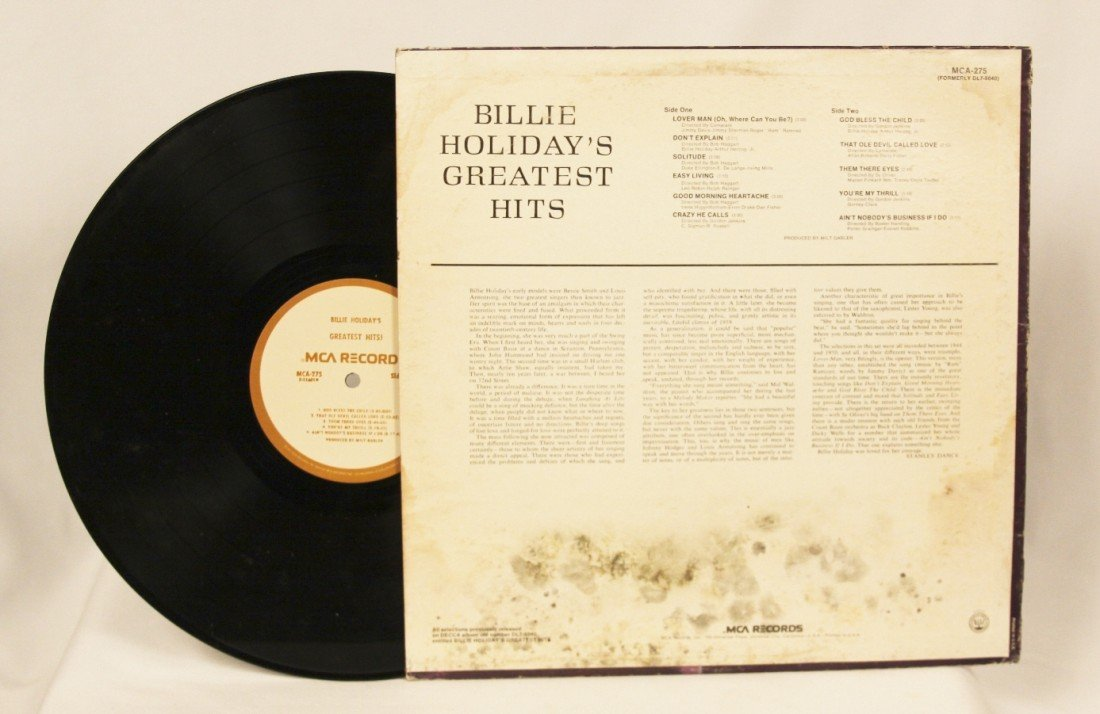 """""""Billie Holiday's Greatest Hits"""" Vinyl Record BD175 - 2"""