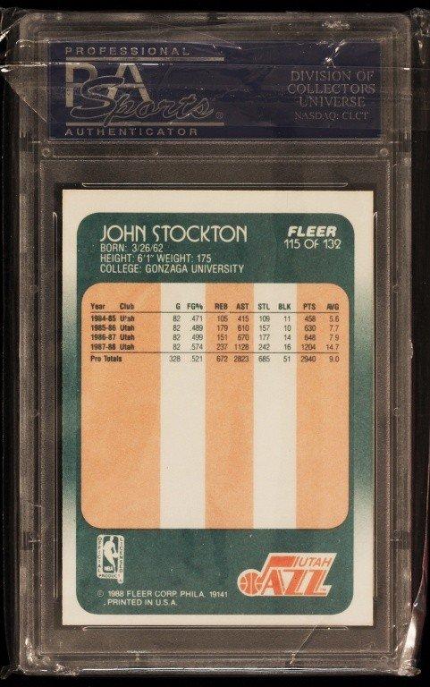 1988 Fleer John Stockton Rookie Card C319 - 2