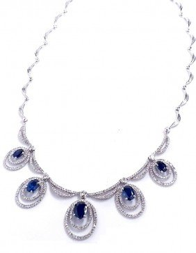 14KT White Gold 5.20ct Sapphire And Diamond Necklace FJ