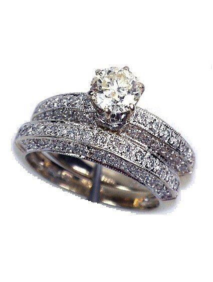 14KT White Gold Diamond Wedding Set 1.28ct A2663