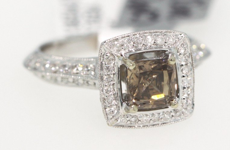 18KT White Gold 1.78ct Brown and White Diamond Ring RM2