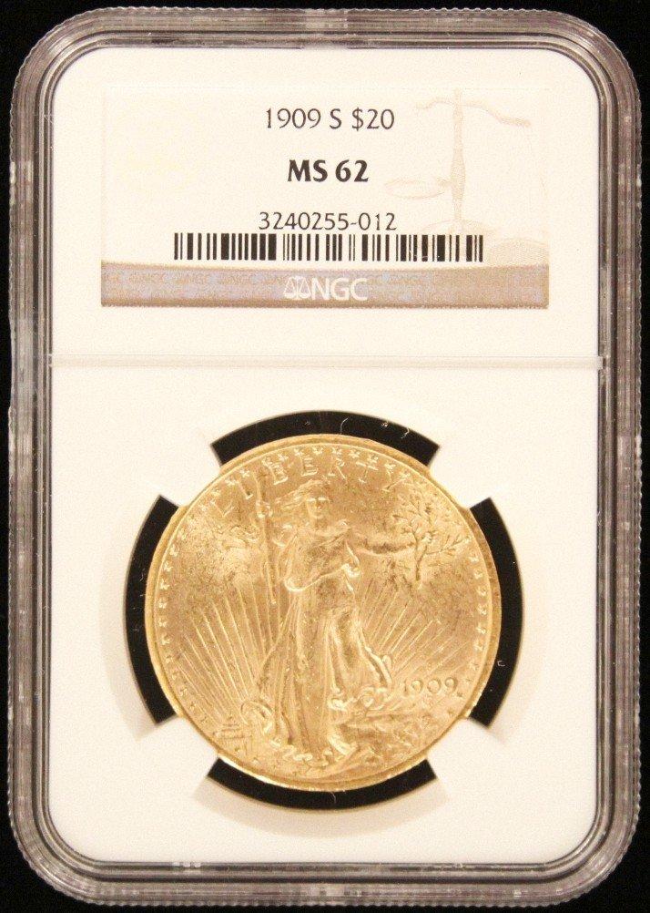 1909 $20 NGC MS62 St. Gaudens Double Eagle Gold Coin Da